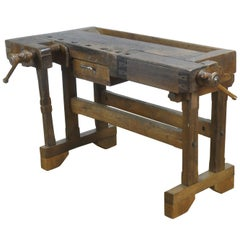Vintage Oak Carpenter's Worktable, 1930s