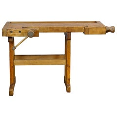 Vintage Oak Carpenter's Worktable, 1940s