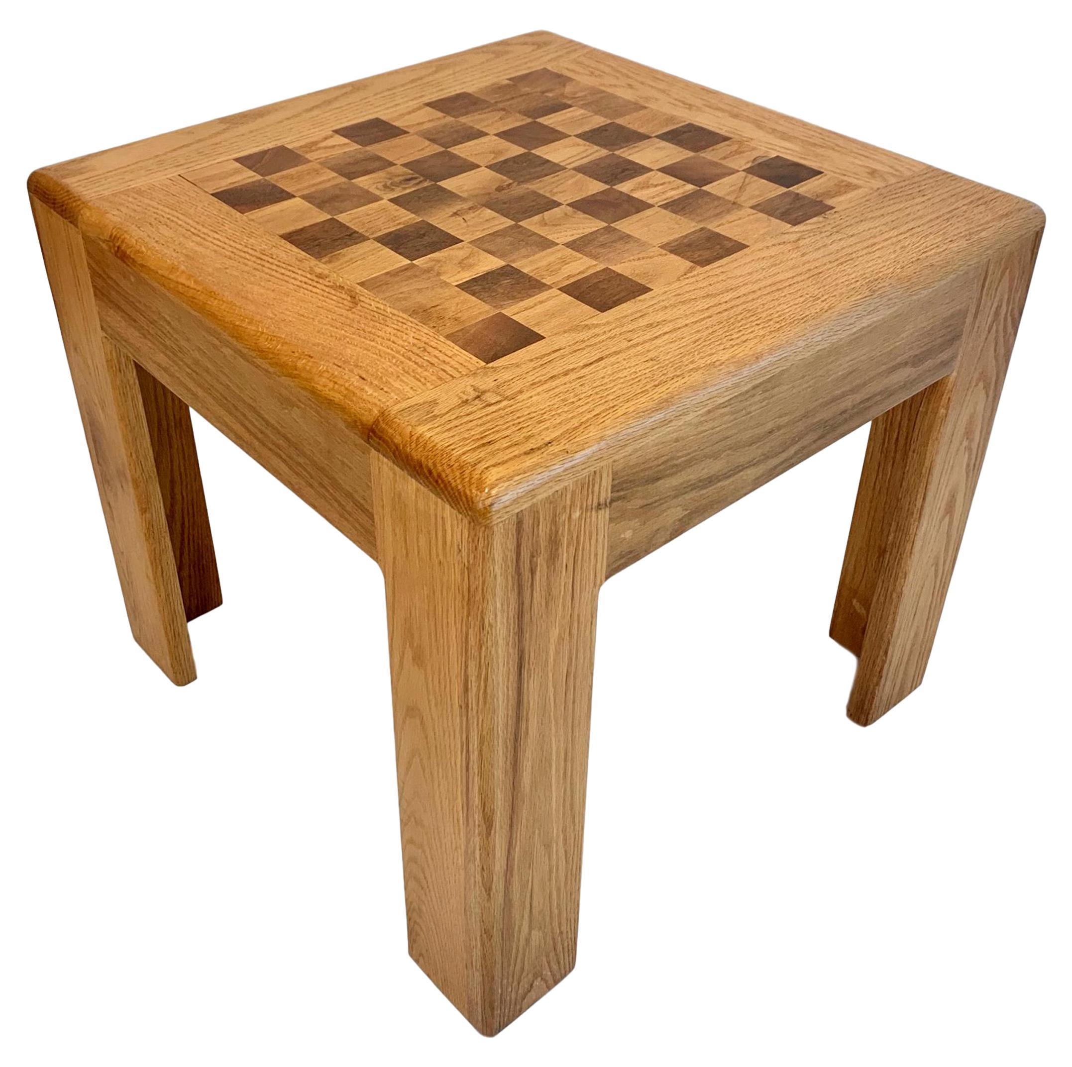 Vintage Oak Chess Table