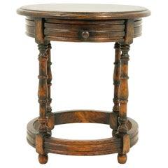 "Vintage Oak Circular Lamp Table, End Table, ""Clover Oak"", Scotland 1920, B2433"