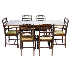 Vintage Oak Draw Leaf Refectory Dining Table & 6 Chairs Mid 20th C