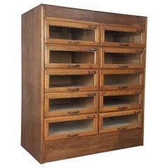 Vintage Oak Early 20th Century 10-Drawer Haberdashery Cabinet