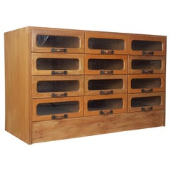 Vintage Oak Early 20th Century 12-Drawer Haberdashery Cabinet, 1930s