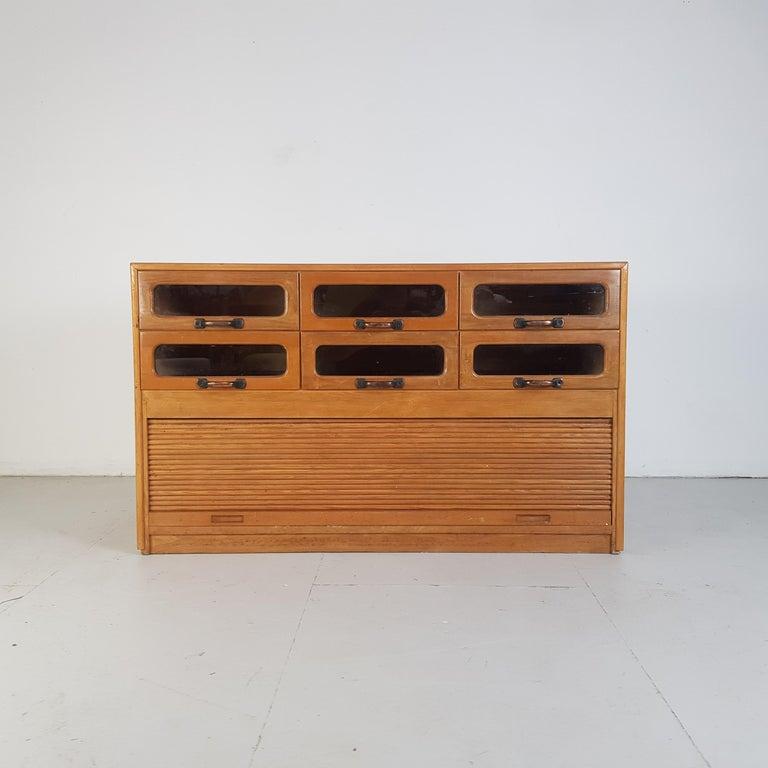 English Vintage Oak Early 20th Century 6-Drawer Haberdashery Cabinet, 1930s