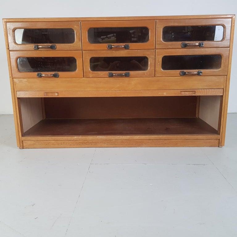 Vintage Oak Early 20th Century 6-Drawer Haberdashery Cabinet, 1930s 4