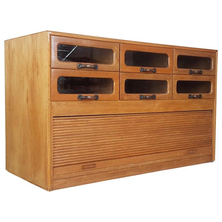 Vintage Oak Early 20th Century 6-Drawer Haberdashery Cabinet, 1930s