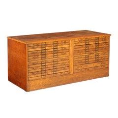 Vintage Oak Flat File Cabinet Kitchen Island
