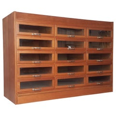 Vintage Oak Mid Century 15-Drawer Haberdashery Cabinet, 1940s