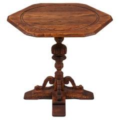 Vintage Oak Pedestal Table with Hand Carved Base