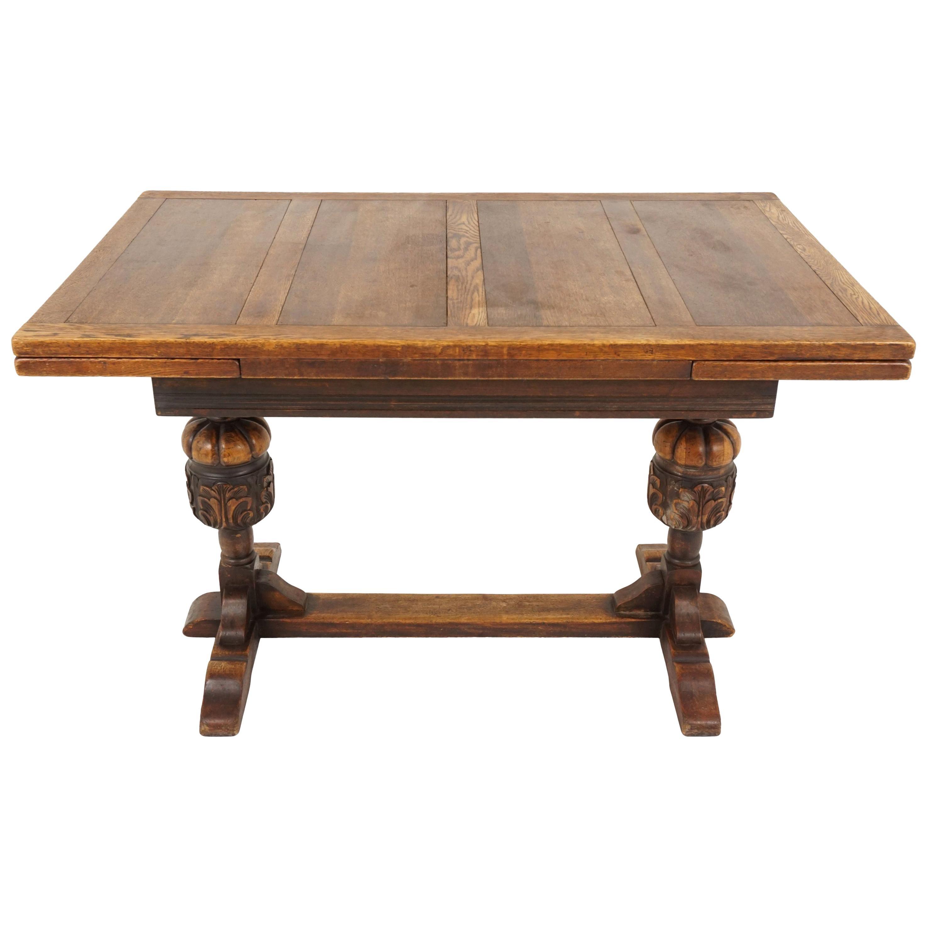 Vintage Oak Refectory Table, Draw Leaf, Writing Table, Scotland 1930, B2124