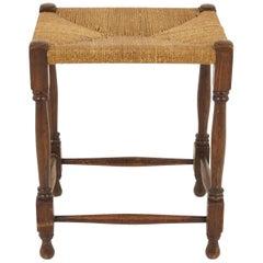 Vintage Oak Rush Seat Stool, Vintage Furniture, Scotland 1920's, B1891