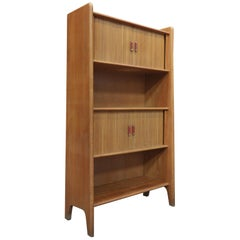 Vintage Oak Shelf Cabinet with Sliding Doors, circa 1950
