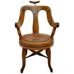 Vintage Oak Swivel Barber's Chair by Dreszmann Karoly
