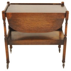 Vintage Oak Tea Trolley, Bar Cart, Two Tier, Scotland 1930, B2464