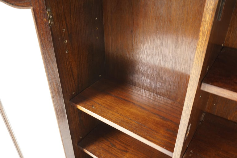 Scottish Vintage Oak Three-Door Bookcase, Display Cabinet, Scotland 1930, B2236