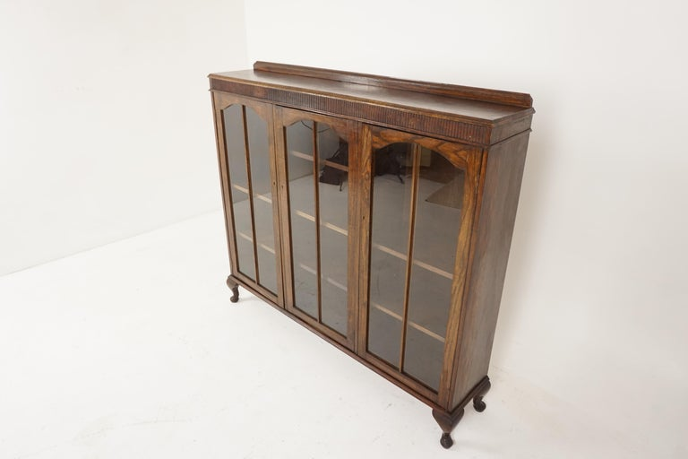 Hand-Crafted Vintage Oak Three-Door Bookcase, Display Cabinet, Scotland 1930, B2236