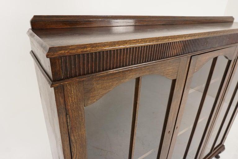 Mid-20th Century Vintage Oak Three-Door Bookcase, Display Cabinet, Scotland 1930, B2236