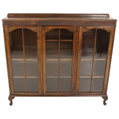 Vintage Oak Three-Door Bookcase, Display Cabinet, Scotland 1930, B2236
