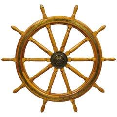 Vintage Oak Wood & Brass, Nautical Captains Ship Wheel