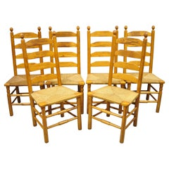 Vintage Oak Wood Rush Seat Tall Ladderback Dining Room Rustic Chairs, Set of 6