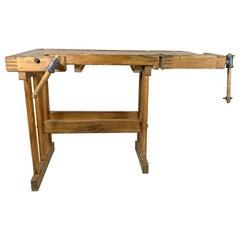 Vintage Oak Workbench, Czechoslovakia, 1950s