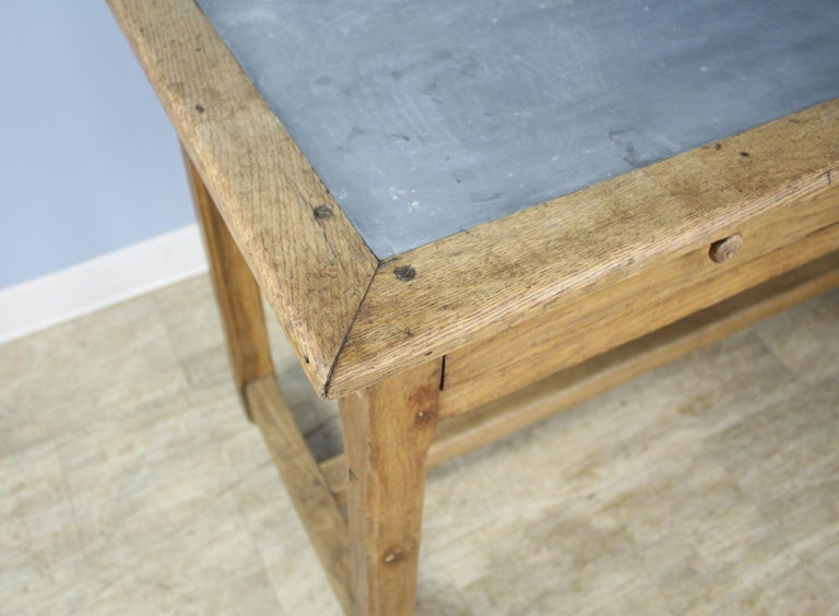 Vintage Oak Writing Table or Desk with Zinc Top For Sale 5