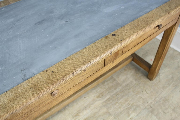 Vintage Oak Writing Table or Desk with Zinc Top For Sale 6