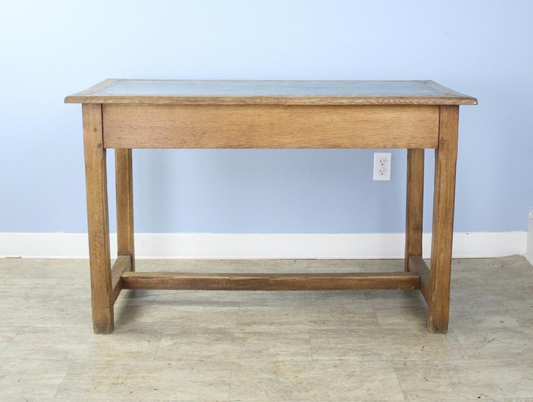 Vintage Oak Writing Table or Desk with Zinc Top For Sale 8