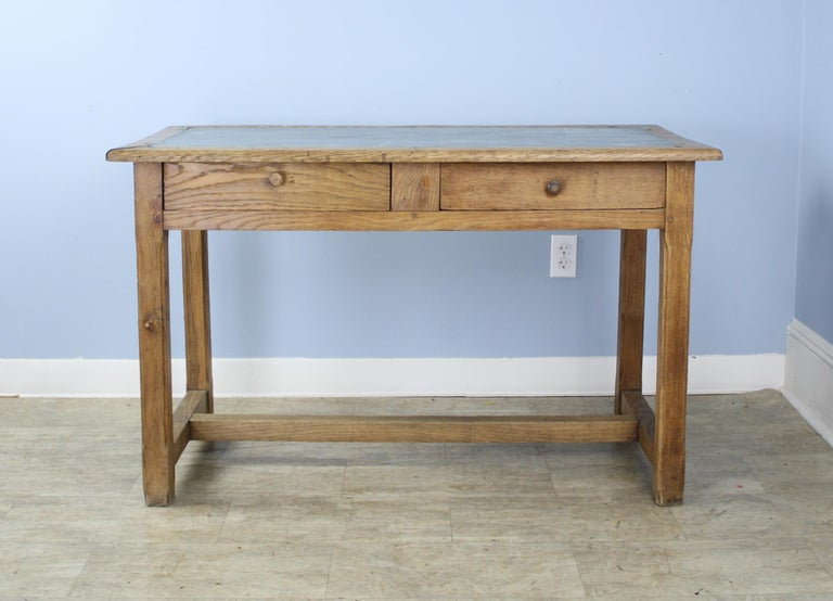 French Vintage Oak Writing Table or Desk with Zinc Top For Sale