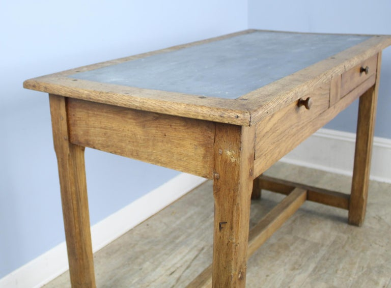 Vintage Oak Writing Table or Desk with Zinc Top In Good Condition For Sale In Port Chester, NY