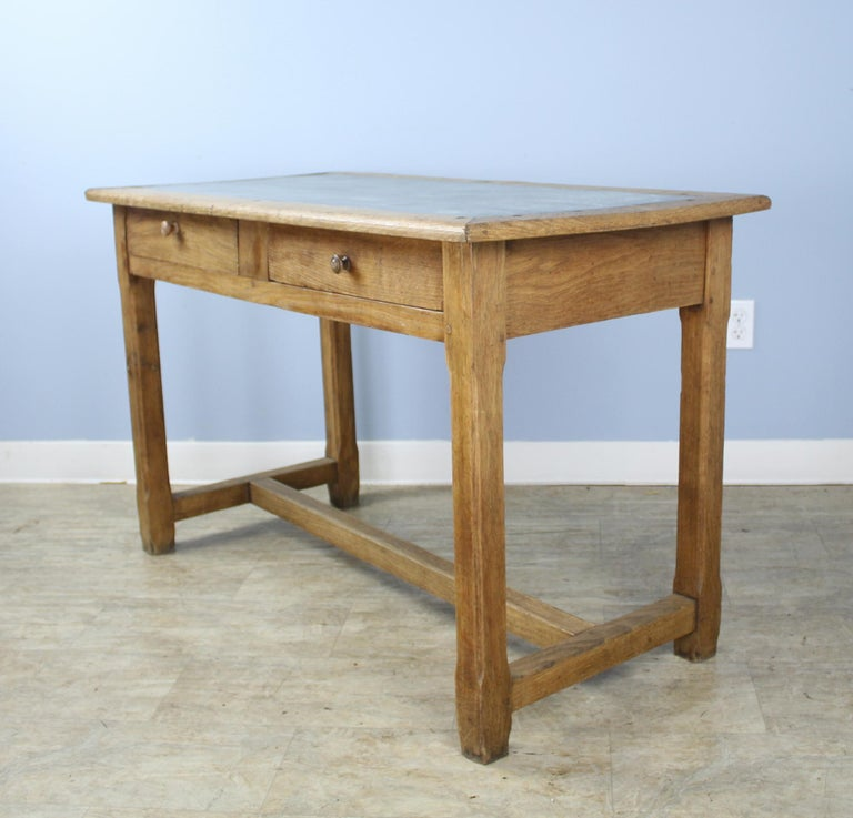 20th Century Vintage Oak Writing Table or Desk with Zinc Top For Sale