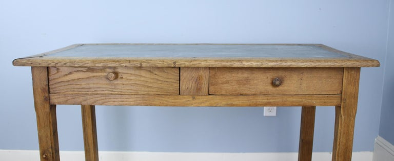 Vintage Oak Writing Table or Desk with Zinc Top For Sale 1