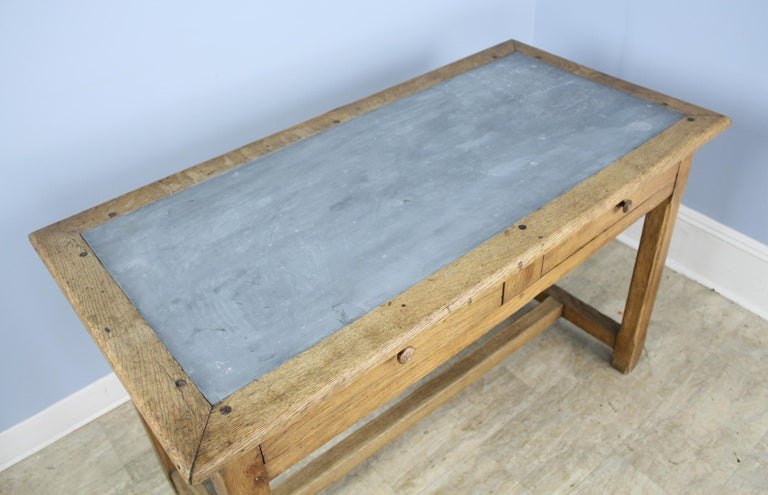 Vintage Oak Writing Table or Desk with Zinc Top For Sale 3