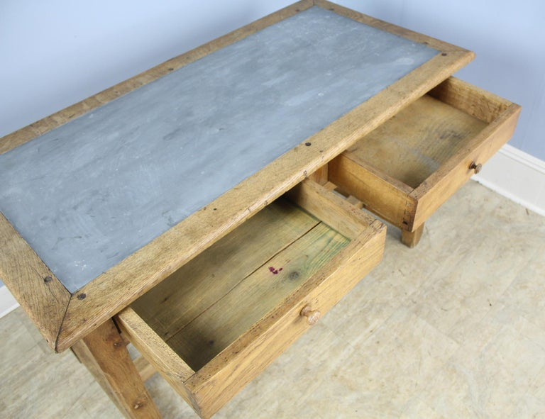 Vintage Oak Writing Table or Desk with Zinc Top For Sale 4