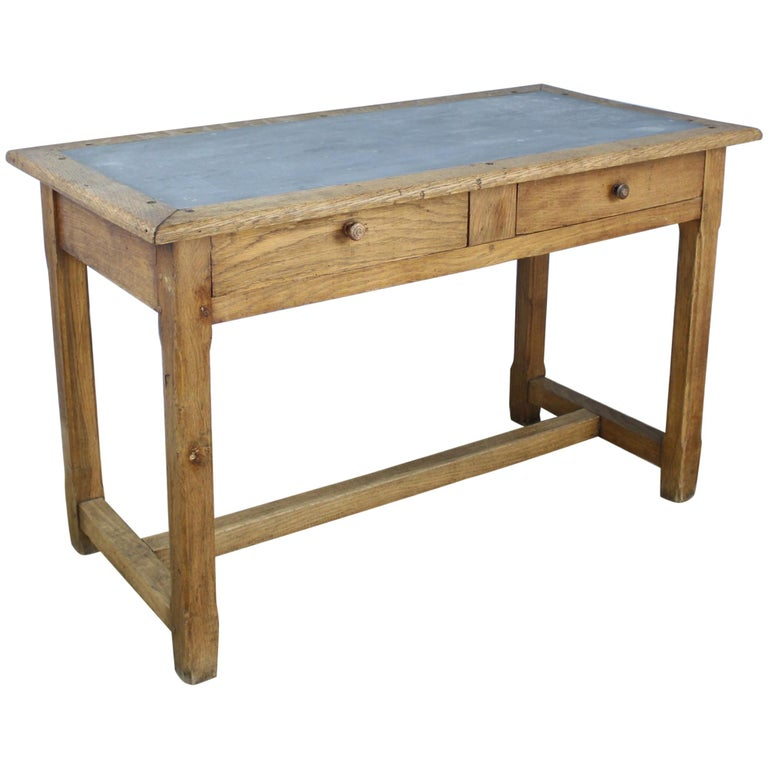 Vintage Oak Writing Table or Desk with Zinc Top For Sale