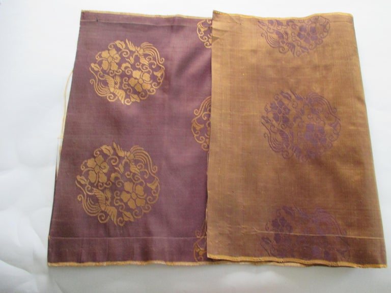 Japonisme Vintage Obi Brown and Gold Silk Textile For Sale