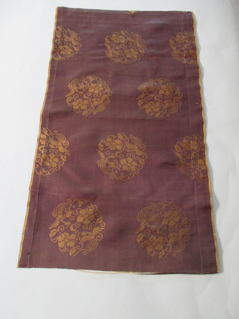 Japanese Vintage Obi Brown and Gold Silk Textile For Sale