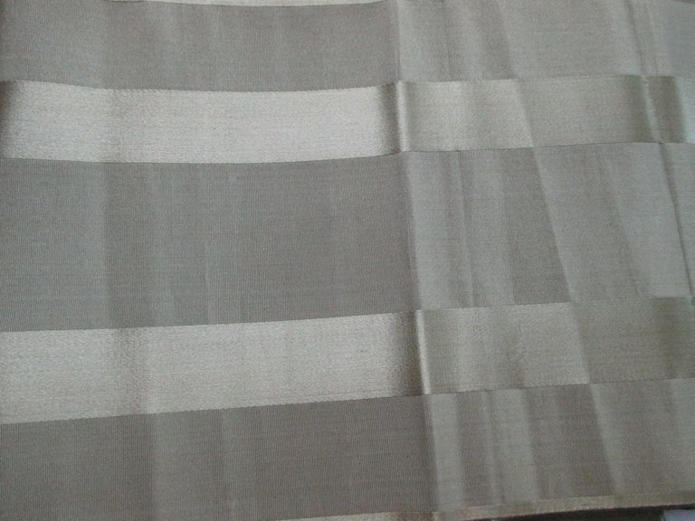 Vintage obi green textile with parallel bands. Olive green silk/satin stripes. Almost 4 yards. Ideal for pillows. Size: 8.5