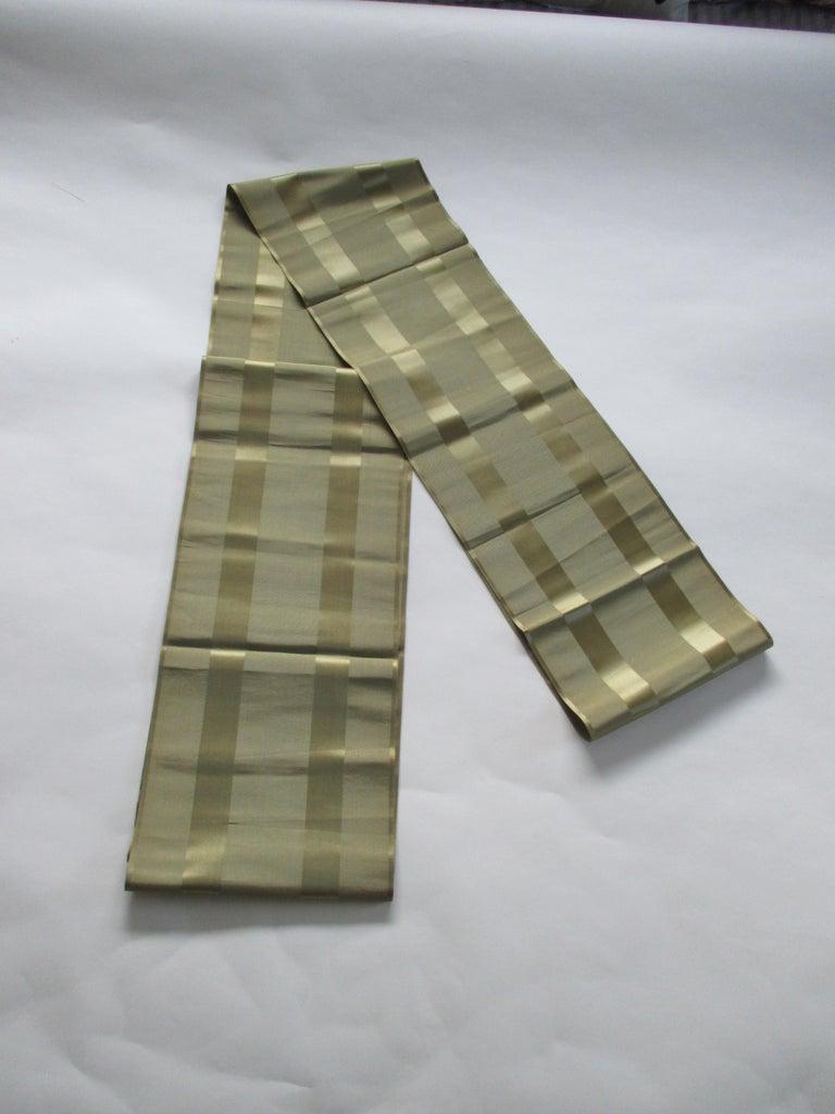 Japonisme Vintage Obi Green Textile with Parallel Bands For Sale