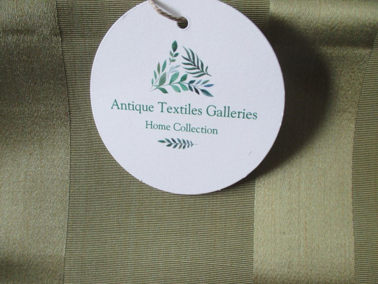 Japanese Vintage Obi Green Textile with Parallel Bands For Sale