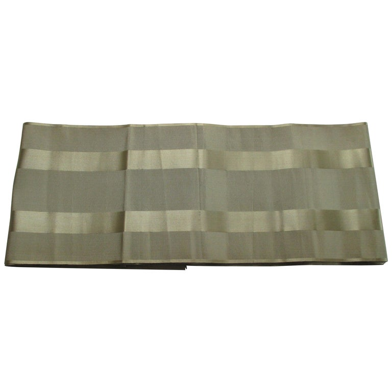 Vintage Obi Green Textile with Parallel Bands For Sale