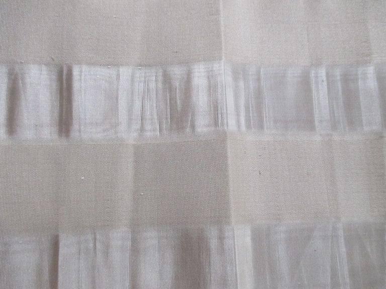 Vintage Obi silk textile with silver parallel bands.