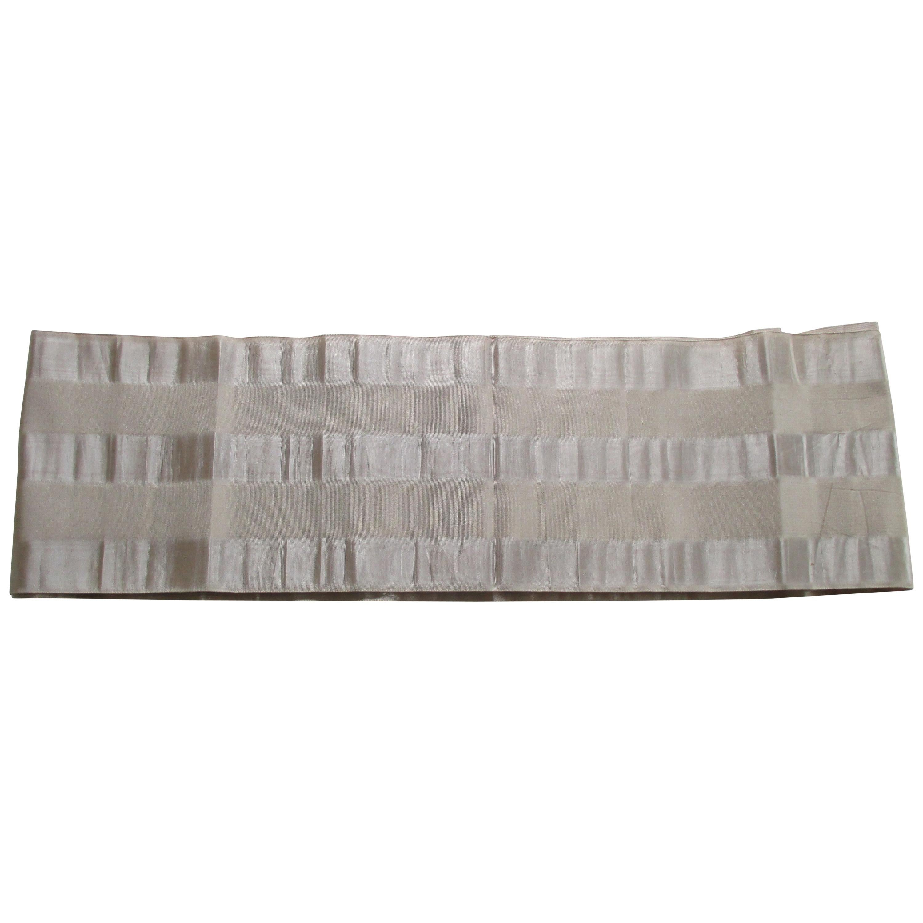 Vintage Obi Silk Textile with Silver Parallel Bands