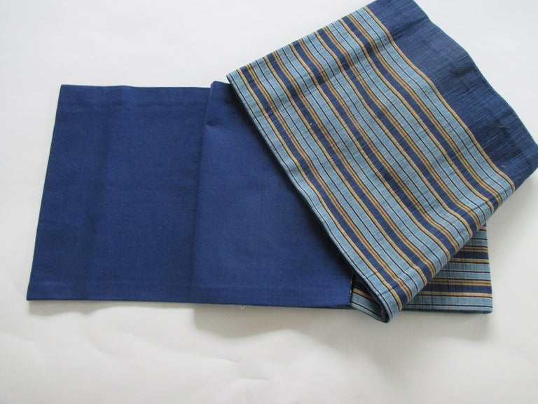 Vintage obi textile blue with yellow stripes. Solid silk back.