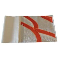 Vintage Obi Textile Fragment Natural and Orange Undulating Pattern