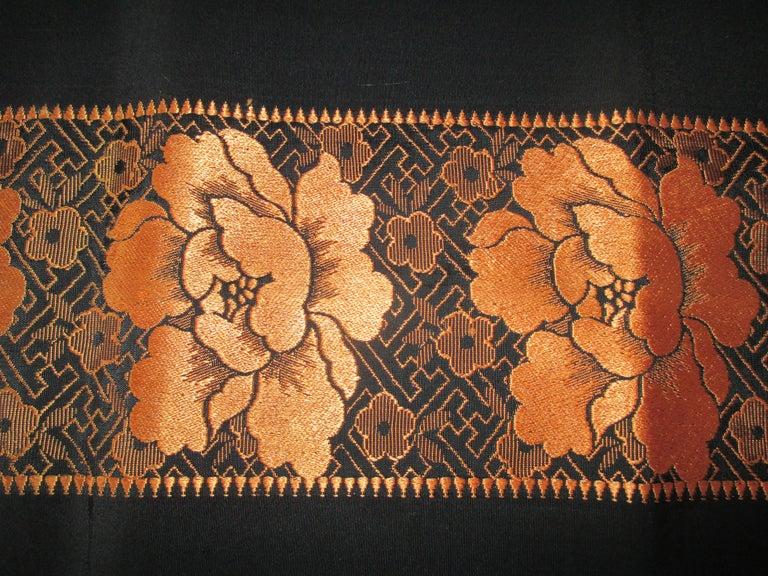 Japonisme Vintage Obi Textile Fragment Orange on Black For Sale