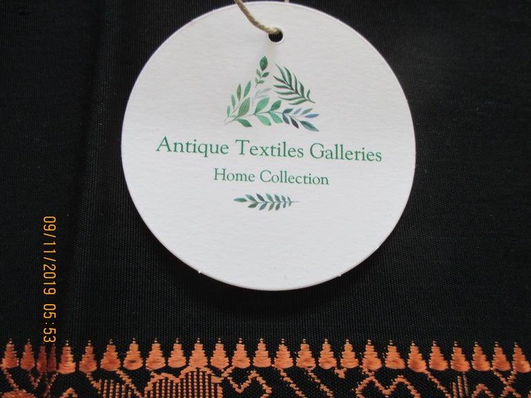 Japanese Vintage Obi Textile Fragment Orange on Black For Sale