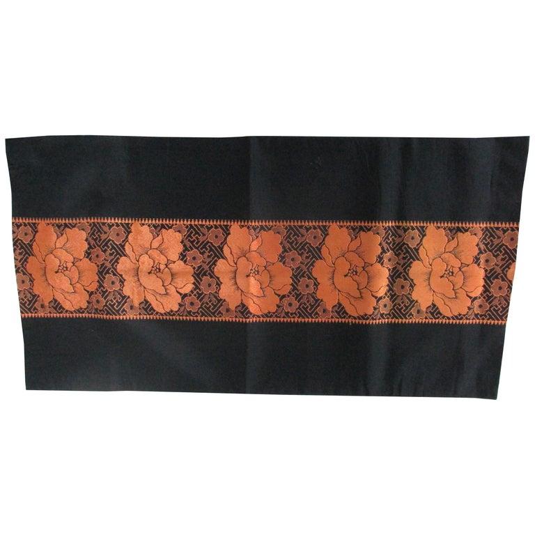 Vintage Obi Textile Fragment Orange on Black For Sale