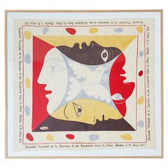 Vintage Occasional Pablo Picasso Cotton Scarf in Antique Frame, Germany, 1951