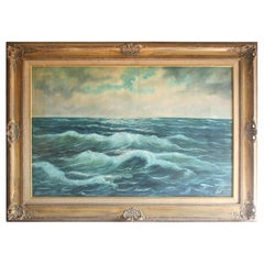 Vintage Ocean Oil Painting in Giltwood Frame by German Artist V. Berk